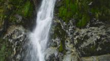 Waterfalls Off Vegetated Steep Cliff. Wide Rushing Stream Through The Rainforest. Pan From Top To Base. South Island, New Zealand.