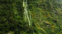 Water Falls Off Vegetated Steep Cliff, Foreground Vegetation Blows In The Wind, New Zealand.