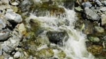 Stream. Rushing River Flowing Over Rough Rocks.