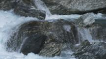 Haast Pass, Tight Shot Of River Rushing Over Rocky Canyon, Aqua Blue Fresh Water.