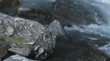 Rock Swirl Details At Haast Pass, Tight Shot Of River Rushing Over Rocky Canyon, Aqua Blue Fresh Water.