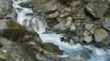 Haast Pass, River Rushing Over Rocky Canyon, Aqua Blue Fresh Water.