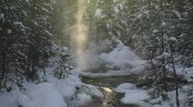 Steam Rising Off River Between Trees In Sunlight