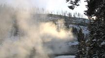 Steam Rising In Front Of Trees And Snowy Hillside