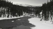 Snowy River Valley, Tilt/Pull Back To River Otter (Lutra Canadensis) Den