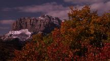 A Strong Breeze Rustles Autumn Colored Leaves And Zooms Out To Reveal A Snowy Rocky Mountain In The Background.