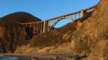 Looking Up At Bixby Bridge, Waves On Shore Below