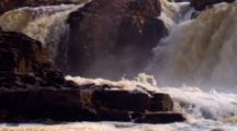 Big Sioux River Cascades Over Sioux Quartzite And Spews Alienesque Foam