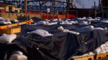 Pallets Of Sandbags Assembled For Spring Flood Readiness