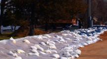 Sandbag Barricade On Flooded St. Croix River