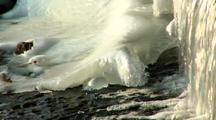 Icy Cold Water Flowing Near Ice Formation