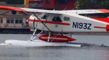 Float Plane Prepares For Takeoff On Great Lake Harbor