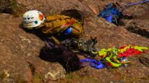 Rock Climbing Gear Laid Out On Rock