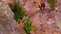 Rock Climber Rappels Down Sheer Cliff Face