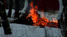 Fire Outdoor Winter Woodpile