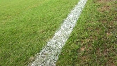 pov walking line of Soccer field