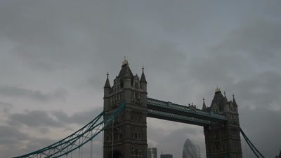 time lapse storm clouds move above Tower bridge,London