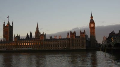 time lapse clouds move above Palace Of Westminster,London,boats on river
