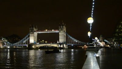 Tower bridge and river Thames at night,London