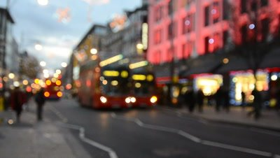soft focus,pedestrians and traffic on london street