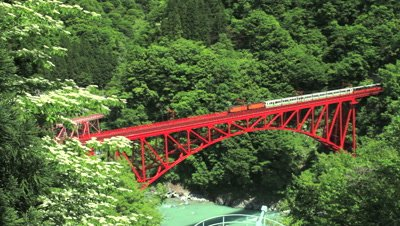 overlook of Sagano Scenic Railway Bridge,Toyama Prefecture,Japan