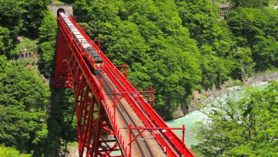 overlook Sagano Scenic Railway Bridge where it meets tunnel,Toyama Prefecture,Japan