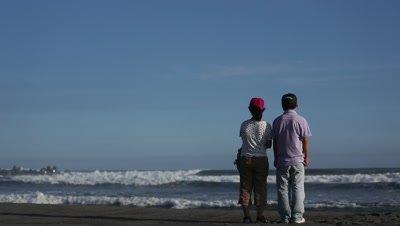 People looking at the sea in Hamamatsu, Shizuoka Prefecture, Japan