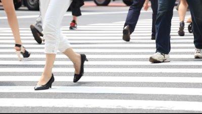 People walking in crosswalk,Shinjuku area,Tokyo,Japan