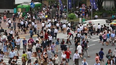 People walking at Shibuya scramble crossing, Tokyo