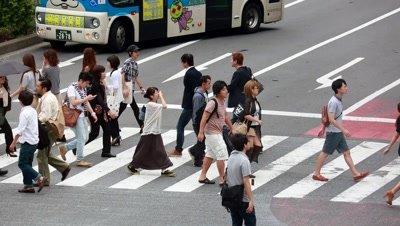 People walking at Shibuya scramble crossing,Tokyo