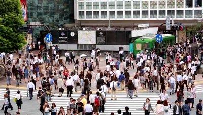 People walking at Shibuya scramble crossing in fast motion,Tokyo,Japan