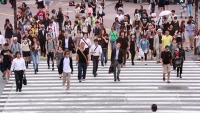 People walking at Shibuya scramble crossing in fast motion, Tokyo, Japan