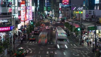 Time-lapse view of Shinjuku traffic at night, Tokyo, Japan
