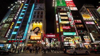 Time-lapse night view of Kabukicho area in Shinjuku,Tokyo,Japan