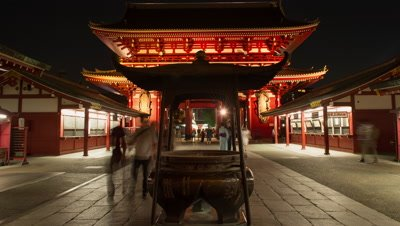 Time-lapse zoom-out front view of people walking by incense cauldron at Senso-ji temple, Tokyo, Japan