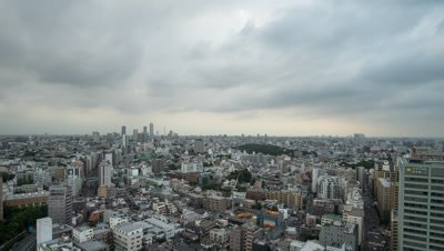 Time Lapse View Of Tokyo Cityscape and Clouded Sky, Tokyo, Japan