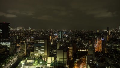 Time Lapse Pan Up Night overlook View Of Tokyo Cityscape and Cloudy Sky