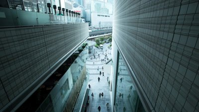 Time lapse looking down on people walking in the Yurakucho office area,Tokyo,Japan