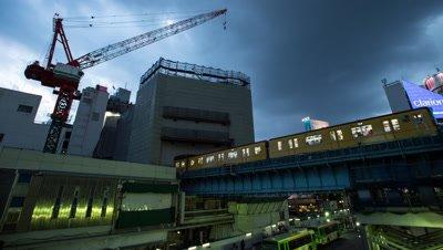 Time lapse trains,evening sky over Shibuya station,Tokyo,Japan