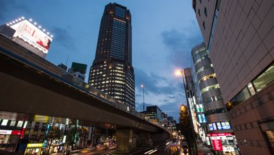 Time lapse footage of the evening sky over Cerulean Tower and Shibuya cityscape,Tokyo,Japan