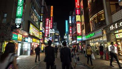 Time lapse footage of people walking in Shibuya district at night,Tokyo,Japan