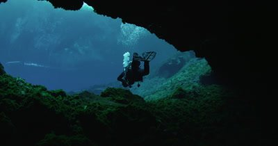 Scuba Diver exiting an underwater cave at Silver Springs State Park