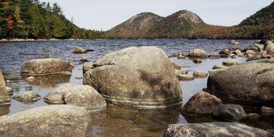 Granite boulders in pond