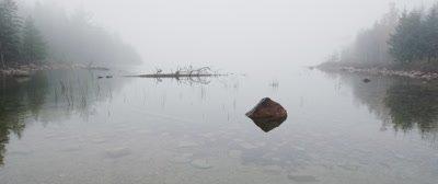Fog over pond at dawn