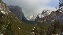 Yosemite Valley In Winter Seen From Glacier Point
