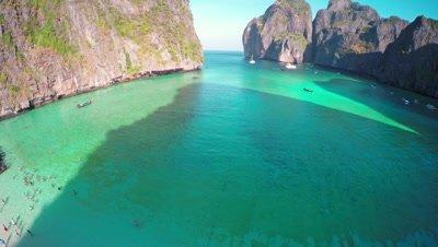 Aerial view on Maya bay, Phi Phi Leh island, Krabi, Thailand, 4k