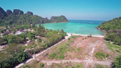 Flying over Lana bay on Phi-Phi Don island, Krabi Province, Thailand, 4k