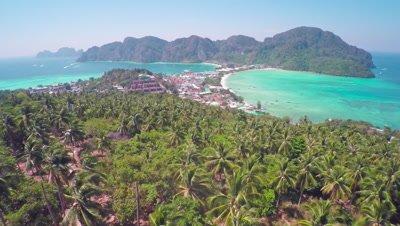 Flying up over Phi-Phi Don island, Krabi Province, Thailand, 4k