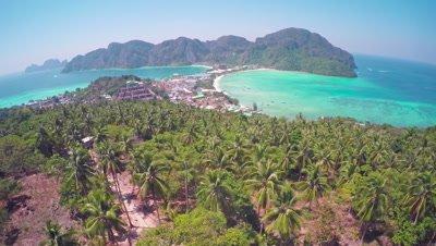 Flying over Phi-Phi Don island, Krabi Province, Thailand, 4k