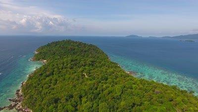 Aerial panorama view on tropical Ko Lipe island in the Andaman Sea, Thailand, 4k